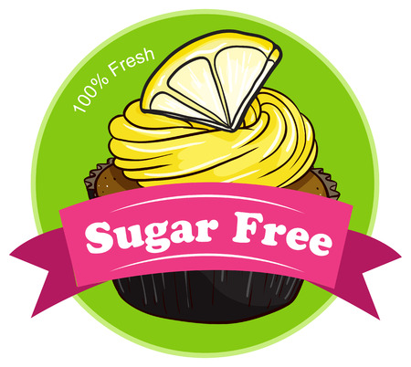 Illustration of a sugar free label with a cupcake on a white background Vector