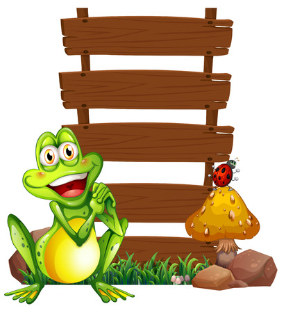 Illustration of a smiling frog in front of the empty signboards on a white background