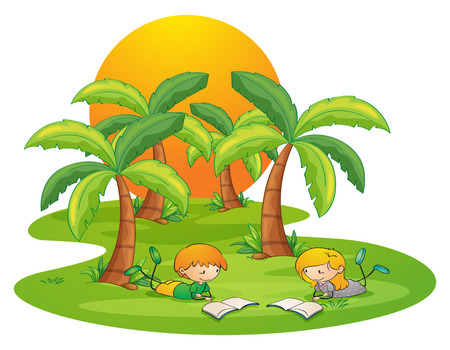 Illustration of the two kids in the island reading near the coconut trees on a white background Vector