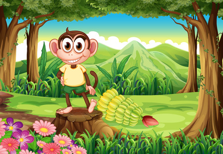 banana leaf food: Illustration of a playful monkey above the stump at the forest with bananas