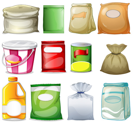 Illustration of the different packs and containers on a white background Vector