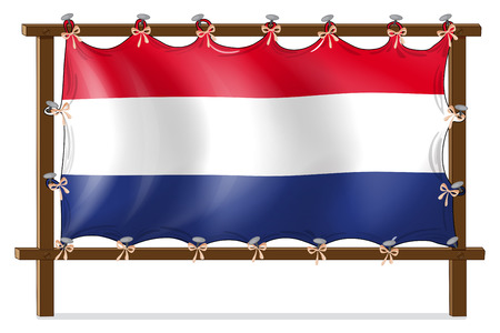 tricoloured: Illustration of the flag of Netherlands attached to the wooden frame on a white background