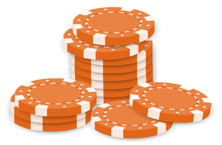 Illustration of the orange poker chips on a white background Vector