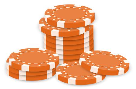 fichas casino: Ilustración de las fichas de póquer de color naranja sobre un fondo blanco