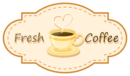 Illustration of a fresh coffee with a cup of brewed coffee on a white background