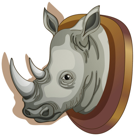 animal heads: Illustration of a head of a rhino on a white background Illustration