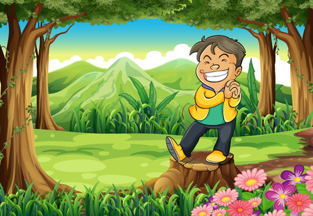 young man standing: Illustration of a happy young man standing above the stump at the forest Illustration