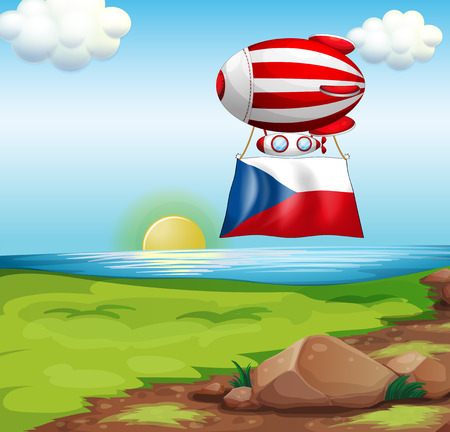 Illustration of a floating balloon with the Czech Republic flag Vector