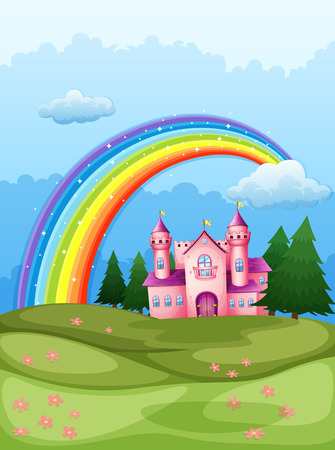 hilltop: Illustration of a castle at the hilltop with a rainbow in the sky