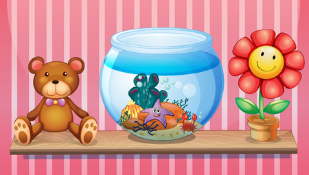 green crab: Illustration of a shelf with a bear, an aquarium and a toy flower