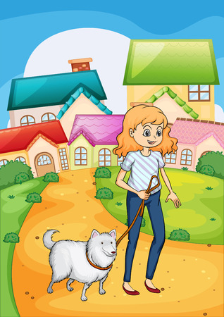 tied girl: Illustration of a woman strolling with her dog Illustration