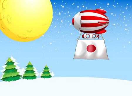 elliptic: Illustration of a floating balloon with the flag of Japan