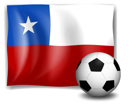 Illustration of the flag of Chile with a soccer ball on a white background Vector