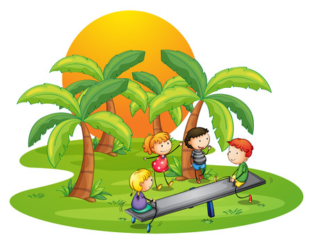 Illustration of the kids playing seesaw near the coconut trees on a white background Vector