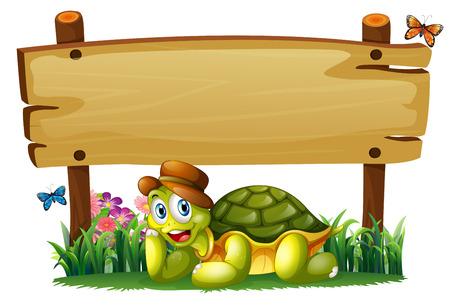 흰색 배경에 빈 나무 보드 아래 웃는 거북이의 그림 일러스트
