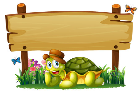 Illustration of a smiling turtle below the empty wooden board on a white background Illustration