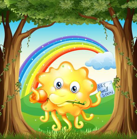 Illustration of a monster with a get-well-soon card and a rainbow in the sky Vector