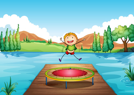 elasticity: Illustration of a boy playing with the trampoline at the river