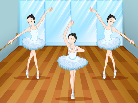 Illustration of the three ballet dancers dancing inside the studio Vector