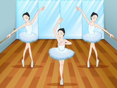 ballet studio: Illustration of the three ballet dancers dancing inside the studio Illustration