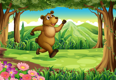 Illustration of a bear running at the forest Vector