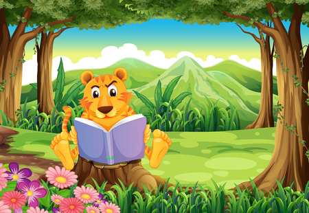 Illustration of a tiger sitting above the stump while reading Vector