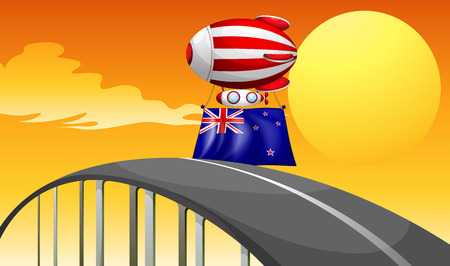 Illustration of a floating balloon above the road with the New Zealand flag Vector