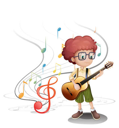 in tune: Illustration of a young musician playing a guitar on a white background