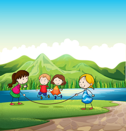 Illustration of the four kids playing with a rope near the river Vector