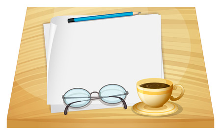 Illustration of a table with empty pieces of papers on a white background Vector
