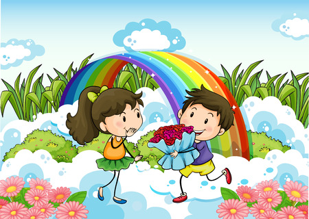 Illustration of a couple dating near the rainbow Vector