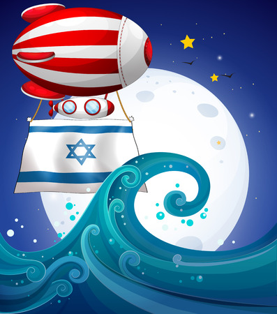 floating on water: Illustration of a floating balloon with the flag of Israel
