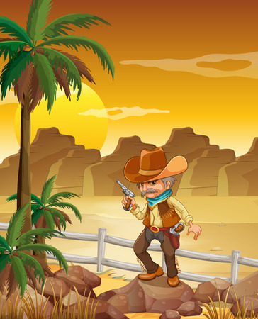 gunman: Illustration of a gunman standing above the rock near the palm trees