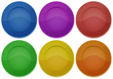 melaware: Illustration of the six colorful round plates on a white background Illustration