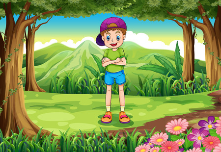 young man standing: Illustration of a tall young man standing in the middle of the forest