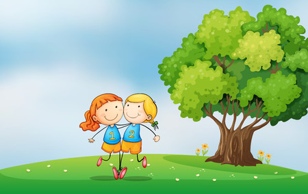 Illustration of the bestfriends at the hilltop near the tree Vector