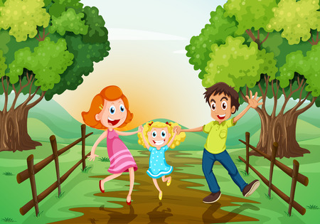 Illustration of a happy family at the woods Vector