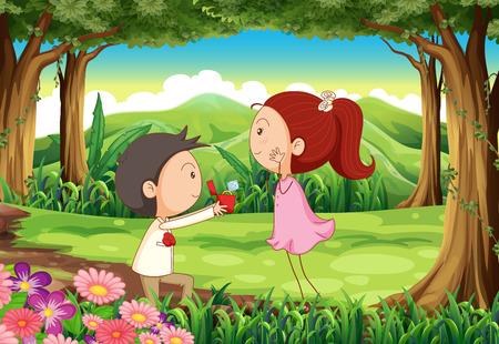 proposal of marriage: Illustrazione di una proposta di matrimonio presso la foresta Vettoriali