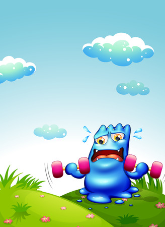 sweaty: Illustration of a blue monster exercising at the hilltop Illustration