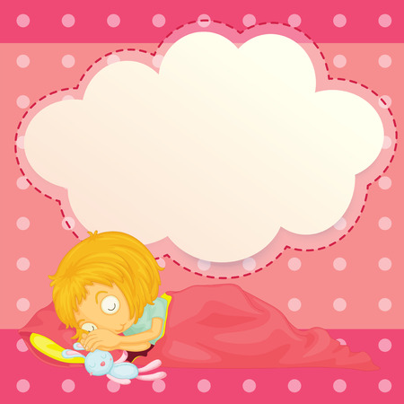 Illustration of a girl sleeping with an empty cloud callout Vector