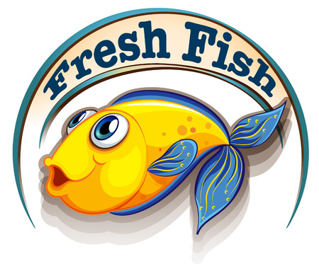 labelling: Illustration of a fresh fish label with a fish on a white background