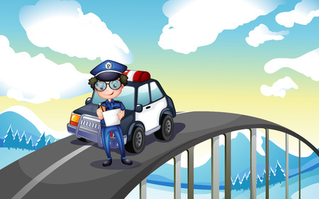 Illustration of an officer and his patrol car in the middle of the road Vector