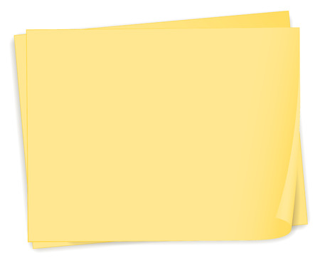 sheet menu: Illustration of an empty yellow paper template on a white background