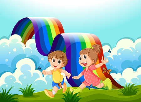 Illustration of the happy kids playing at the hilltop with a rainbow Vector