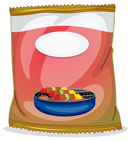 labelling: Illustration of a barbeque chip plastic container on a white background Illustration