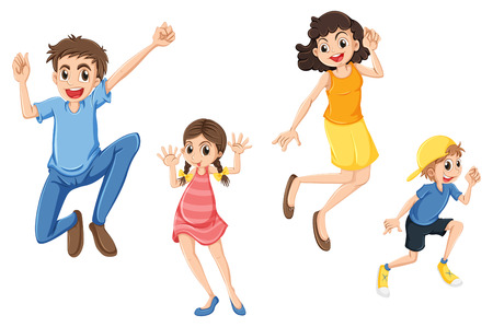 Illustration of a happy family jumping on a white background Vector