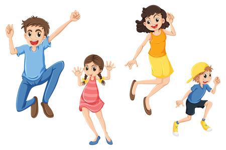 Ilustración de una familia feliz saltando sobre un fondo blanco