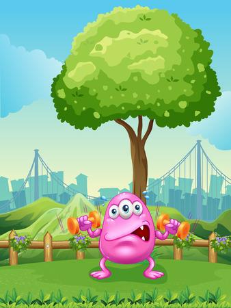 hillside: Illustration of a tired monster exercising under the tree
