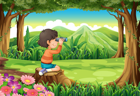 Illustration of a boy with a telescope sitting above the stump at the forest Vector