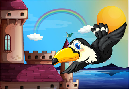 scorching: Illustration of a bird near the castle with a rainbow in the sky Illustration
